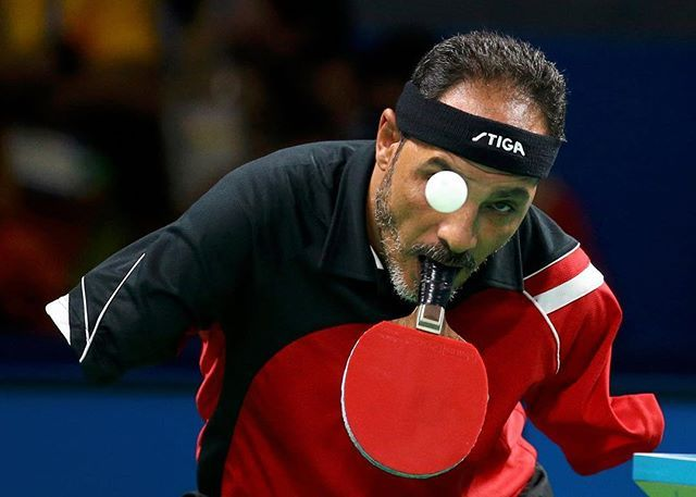 Rio, Brazil Ibrahim Hamadtou of Egypt competes in the Men's Singles table tennis at the 2016 Paralympics Photo: Pilar Olivares/Reuters