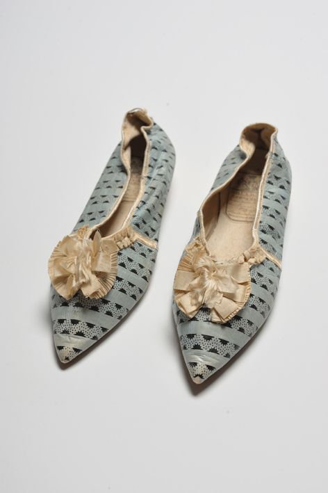 Shoes c. 1800, Worthing Museum and Art Gallery Costume Collection Repinned by www.silver-and-grey.com