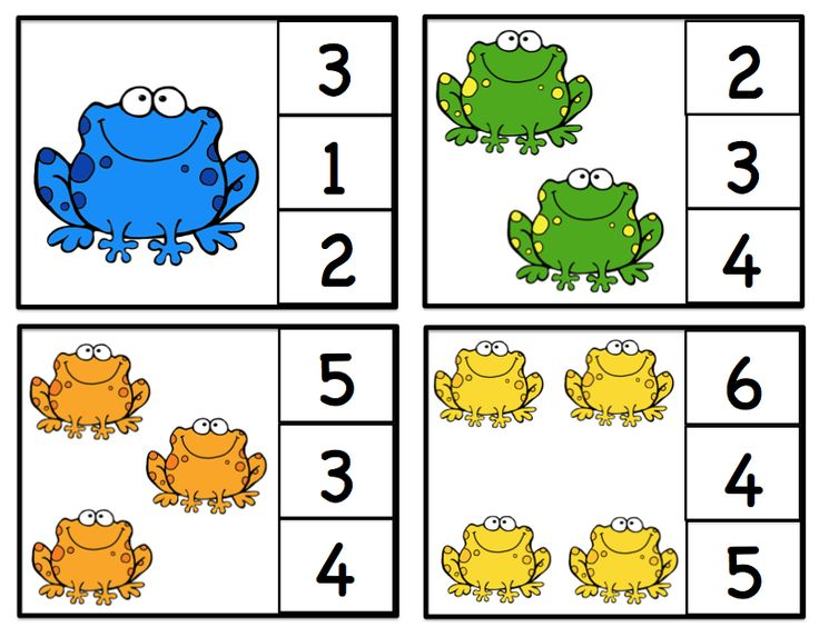 Preschool Printables: Freebies (category)- I especially like these cute frog clothespin cards for 1-12.