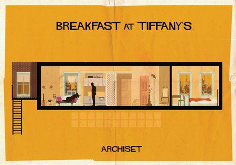 Archiset illustrated film sets by Federico Babina