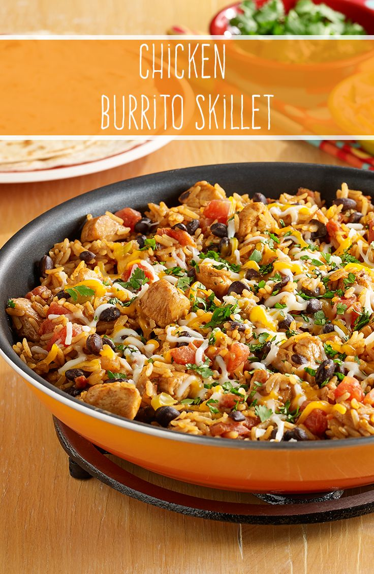 Looking to add more spice to your dinner tonight? Try our Chicken Burrito Skillet. Combine chicken, black beans, zesty RO*TEL tomatoes and taco seasoning in a skillet for a delicious and flavorful meal in under 30 minutes.