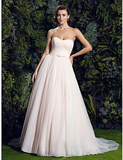 Lanting Bride® Trapèze Petites Tailles / Grandes Tailles Robe de Mariage  Colorées Traîne Tribunal Coeur Tulle avec – EUR € 362.60