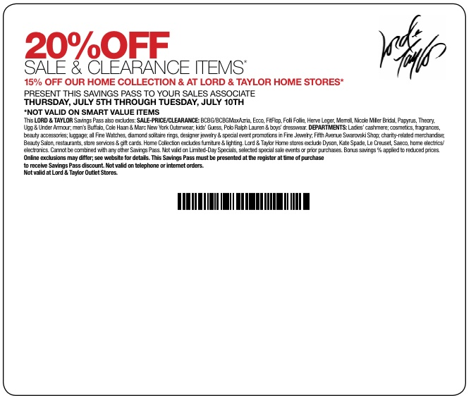 photograph regarding Lord and Taylor Coupons Printable titled Lord and taylor discount coupons january 2018 - 6 02 discount coupons