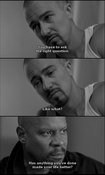 American History X (1998) Very graphic movie about how hate can impact a family or influence others. Starring Edward Norton and Edward Furlong as Derek and Danny Vinyard.: