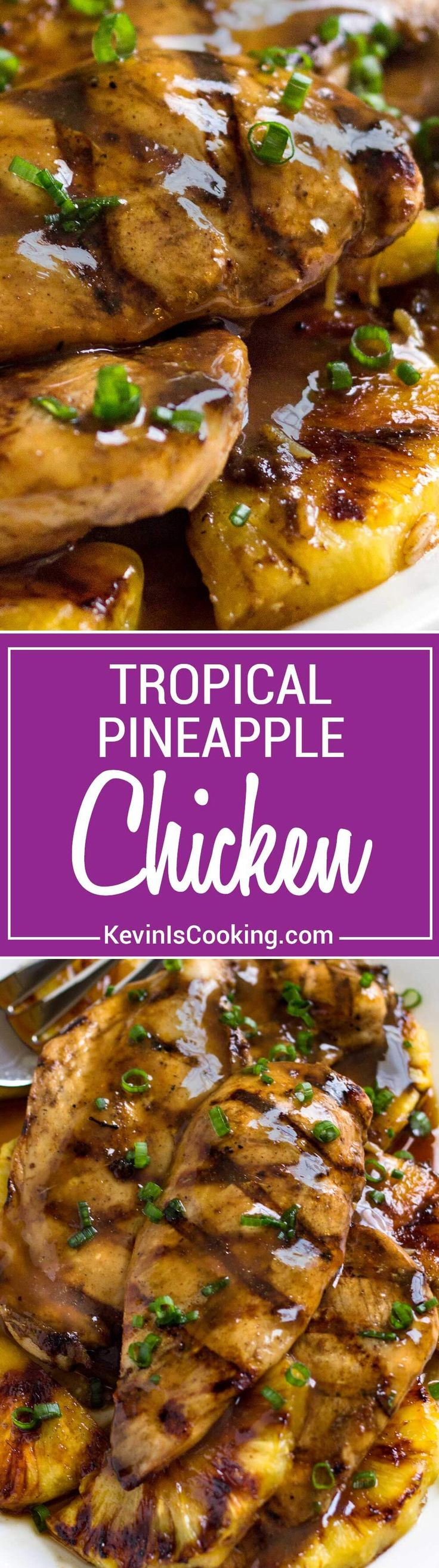 With Caribbean influences this Tropical Pineapple Chicken recipe uses a marinade turn glaze, reminiscent of a jerk sauce. Grilled or baked recipe versions!