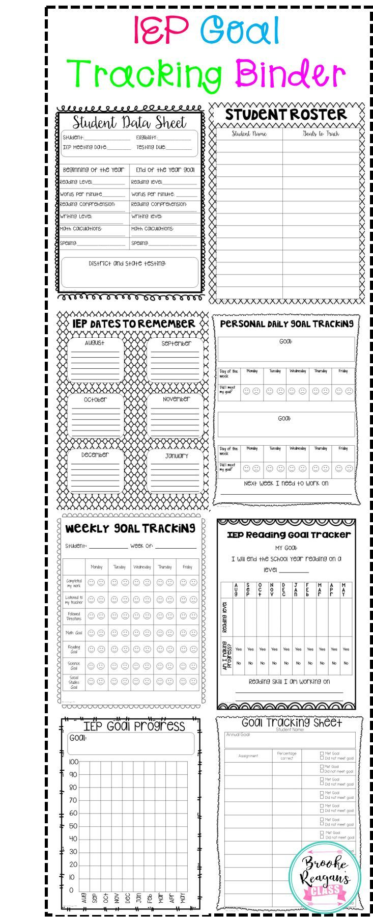 IEP Goal Tracking Binder- Data Collection for Special