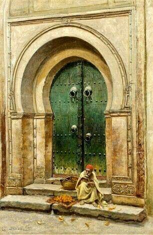 Algérie - Peintre Américain, John Lewis Shonborn ( 1852–1931), Huile sur toile, Titre: Marchand d'oranges
