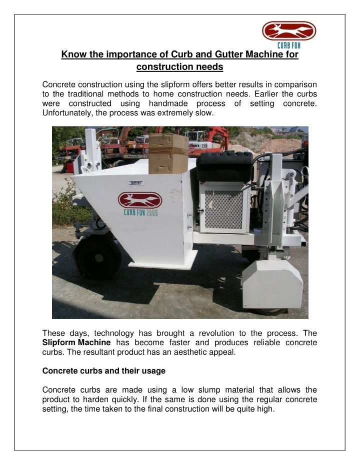 Know The Importance Of Curb And Gutter Machine For Construction Needs Gutter Curbing