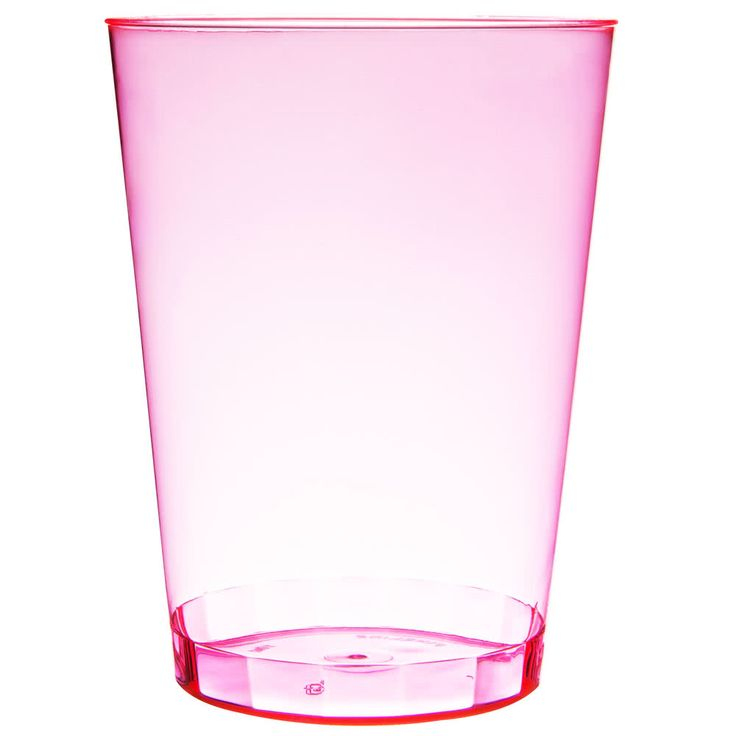 This Fineline Savvi Serve 410-RD 10 oz. tall neon red hard plastic tumbler is perfect for catered events, parties, bars, nightclubs or any other event where you require an economical alternative to permanent glassware. Colorful and fun, this disposable glass is shaped like a traditional beverage glass and made of durable hard plastic, so you don't have to worry about cracking. Use it to serve fizzy sodas or elaborate mixed drinks, and this bold plastic tumbler will never fail to bring the...
