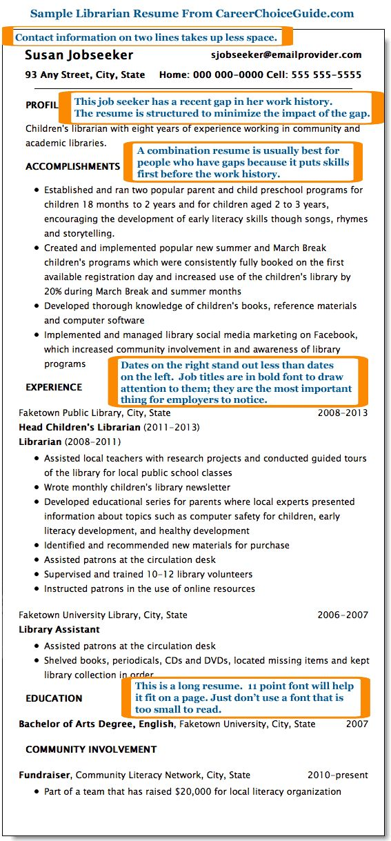 Sample librarian resume This is a good example for someone who has - resume library
