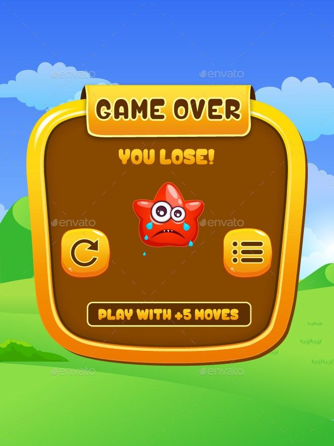 20: Game Over UI | Game | Games, Monster puzzle, Game ui