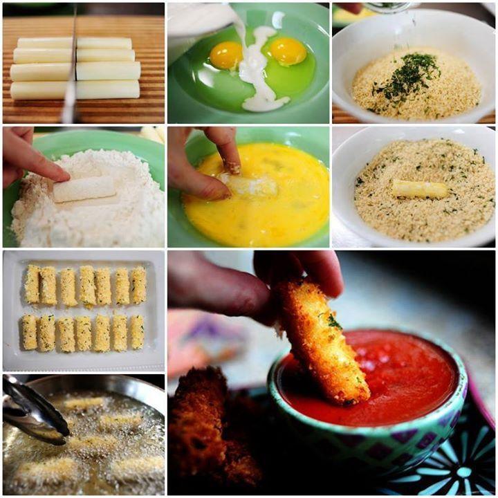 Pour un apéro croustillant ! Ce dont vous aurez besoin : - De la mozzarella, si possible en bâtonnets - Des oeufs - Du laits - De la farine - De la chapelure  Suivez les étapes en images, r...