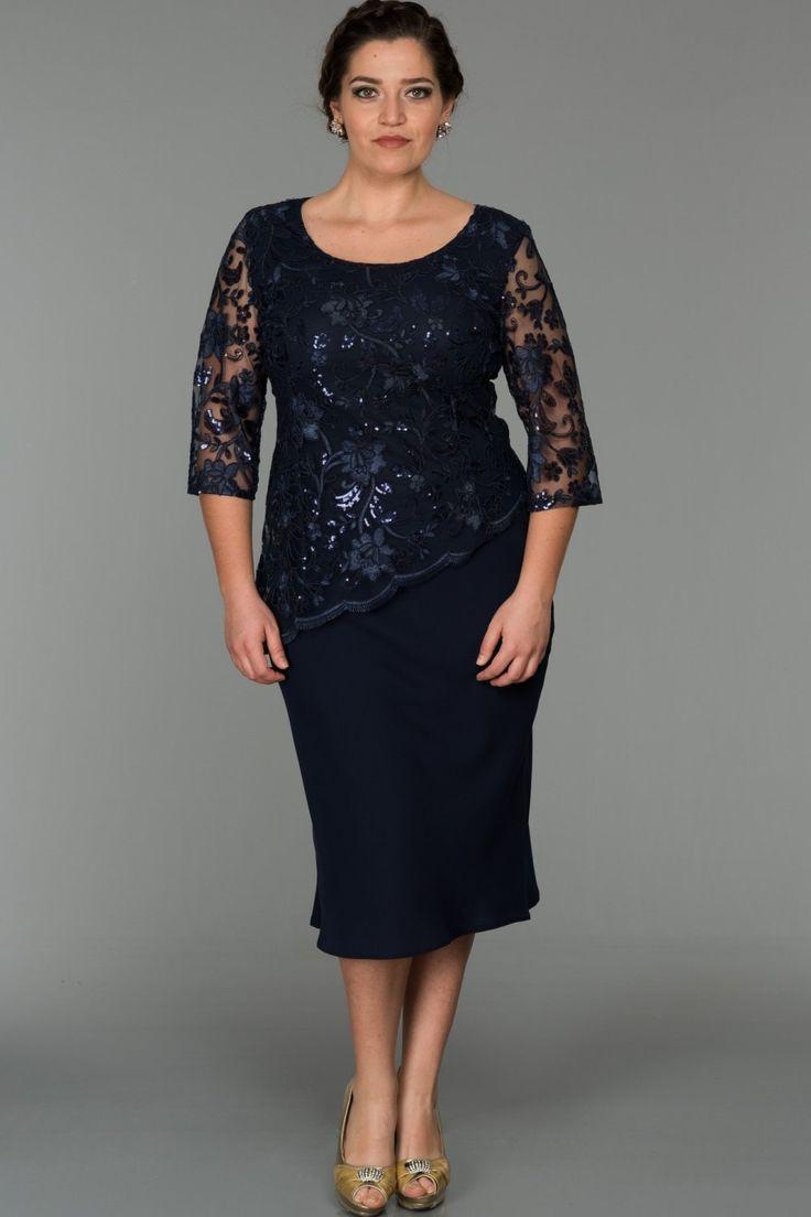 Dunkelblaue Decollete Abendkleider in Übergröße NZ3448   – Coisas para usar