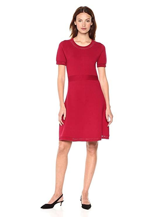 cab1c8fe9d58b Cable Stitch Women's Fit-and-Flare Knit Dress 47% Cotton, 33 ...