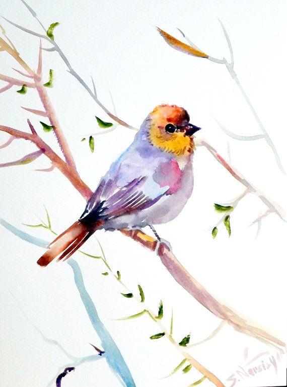 Verdin original watercolor painting 12 X 9 bird by ORIGINALONLY, $24.00