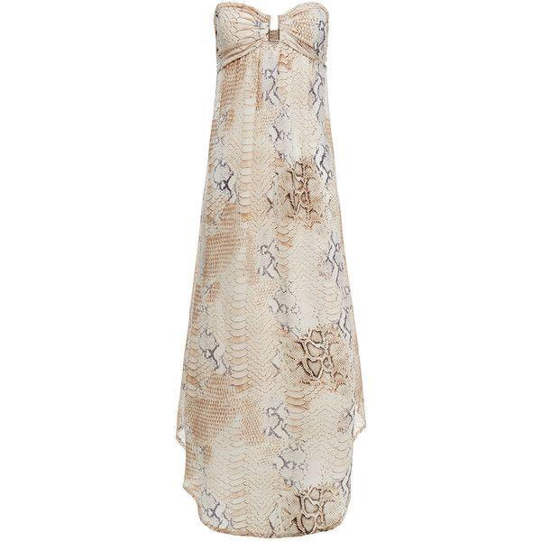 Melissa Odabash Mia Lizard and Snake Print Bandeau Silk Maxi Dress (14.405 RUB) ❤ liked on Polyvore featuring dresses, animal print, shirred dress, bandeau dress, strapless ruched dress, ruched dress and loose dress