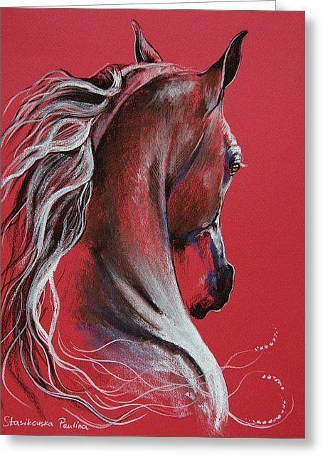 Cheval avec une belle peinture de crinière avec un joli fond rouge, Paulina Stasikows