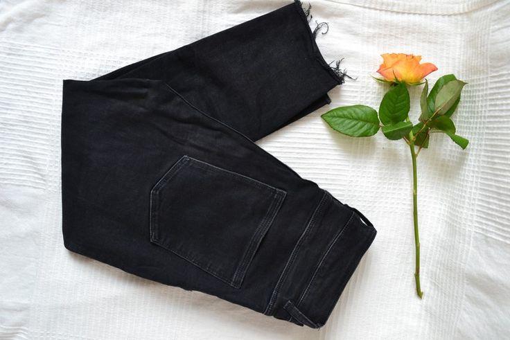 SALE! zara schwarz ripped denim jeans, gr. 38 - kleiderkreisel.de