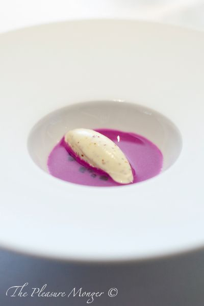 The Fat Duck, Red Cabbage Gazpacho with Pommery Grain Mustard Ice Cream