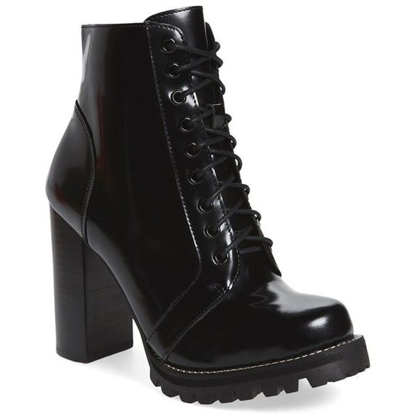 Women's Jeffrey Campbell 'Legion' High Heel Boot (£130) ❤ liked on Polyvore featuring shoes, boots, ankle booties, ankle boots, heels, black box leather, chunky heel boots, lace up ankle boots, black ankle boots and black lace up booties