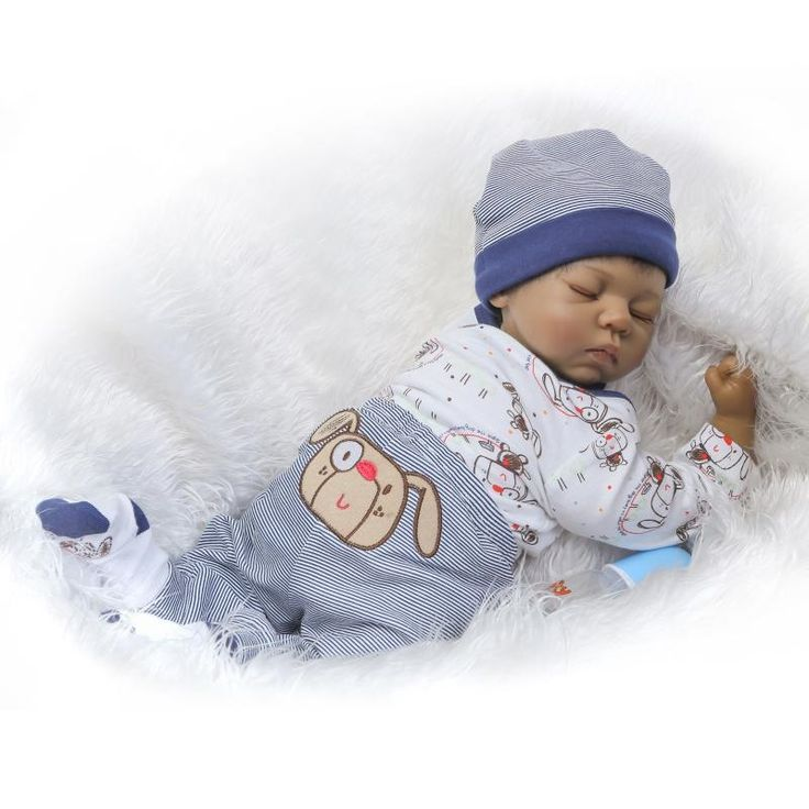 (82.48$)  Buy here - http://aibt7.worlditems.win/all/product.php?id=32796133953 -  20 inch Black Reborn babies girl African American Baby Doll Black skin Realistic bebe alive reborn bonecas