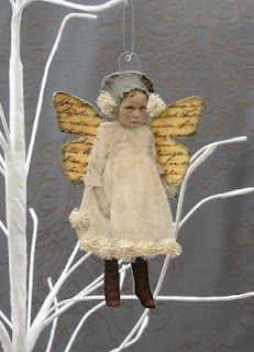 Maygreenfairie - altered fairy #mixedmedia #collage: Altered Art Christmas, Christmas Angel Ornaments, Angel Ornaments Crafts, Paper Dolls Mixed Media, Angel Wings Christmas, Altered Fairies, Angel Wings Crafts, Angel Wings Ornaments, Christmas Angel Wings Diy