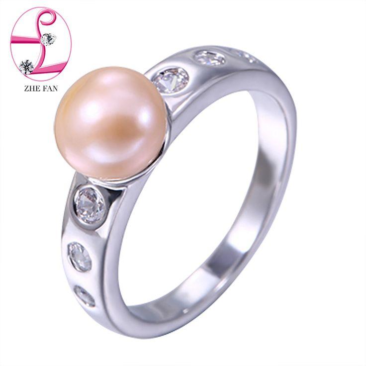 Zhe fan bianco nero rosa rotonda perla simulata anello aaa cz zircone cubico anelli classici per le donne del partito di fidanzamento gioielli