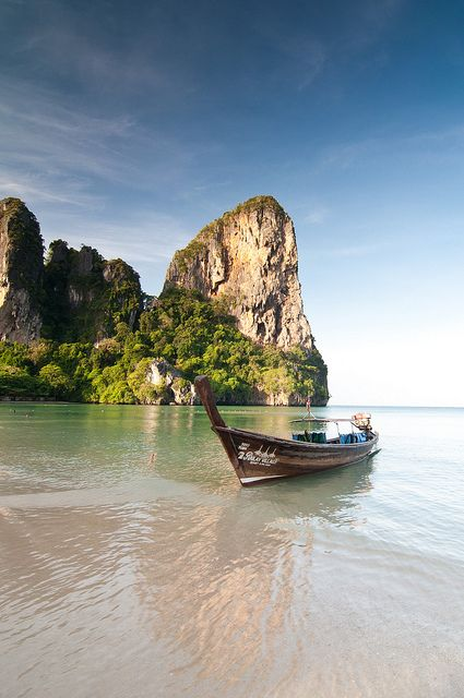 Railay Beach in Krabi, Thailand. Been there, but hrdly saw the beach empty. Still worth pinning :)