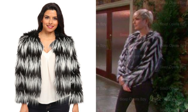 Days of Our Lives Fashion: Get Nicole Walker's Striped Faux Fur Jacket For Less – Arianne Zucker's Style!