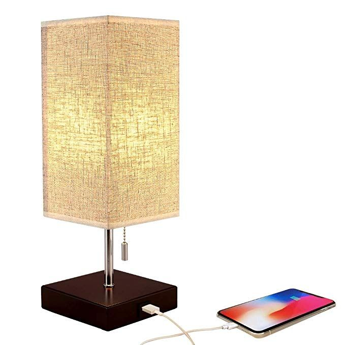 Bedside Table Lamp Usb Charging Port Table Lamps Black Charger Wood Base With Unique Fabric Shade Led Ligh Fabric Shades Lamp For Bedroom Bedside Desk Lamps