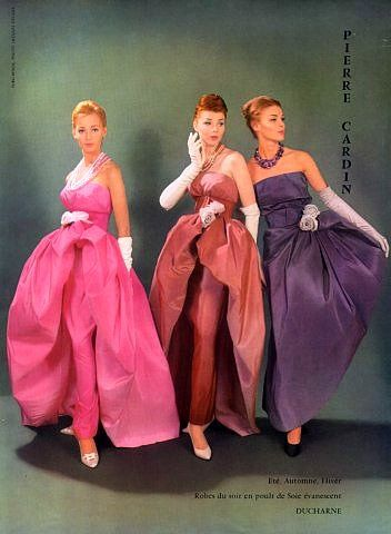 Irridescent silk evening gowns by Pierre Cardin, 1959
