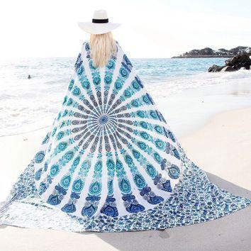 White & Blue Floral Indian Mandala Dorm & Bedroom Hippie Tapestry Wall Hanging - RoyalFurnish.com