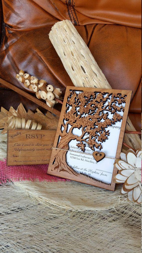 Invito a nozze albero della vita / invito a di AmazingWoodCraft