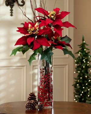Tall Poinsettia, Birch Berries Silk Arrangement - Red