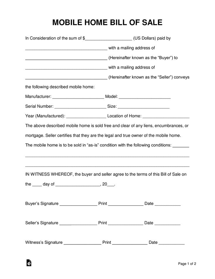 Free Mobile Manufactured Home Bill Of Sale Form Word Pdf Eforms Free Fillable Forms Bill Of Sale Template Word Template Business Template