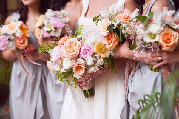 Bridesmaid COLORS: Peach-Purple/Lavender-Tangerine-Blush-White