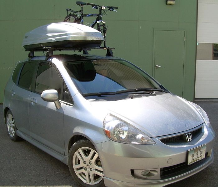 Car Rack Installations Honda Fit With Thule Aero Foot Roof Rack And Rocky  Mounts PitchFork Bike