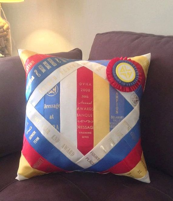 CUSTOM Diamond Horse Show Ribbon Pillow - MADE to ORDER - Personalized Handmade Horse / Dog / Equestrian Show Ribbon Pillow