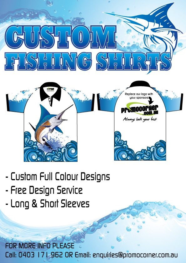Custom fishing shirts for Fishing tournaments or casual wear with mates.