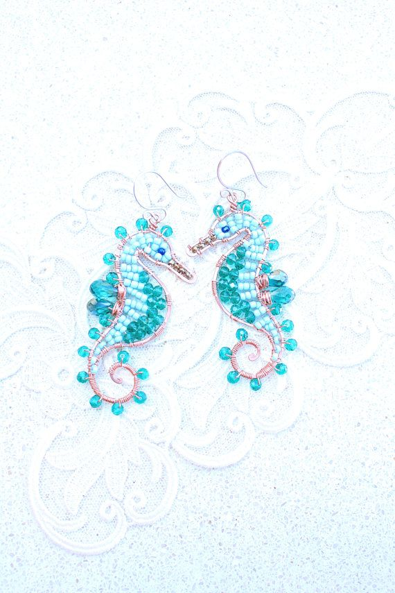 Seahorse Earrings Green Turquoise Copper di SusyDeMarchiJewelry, €60.00