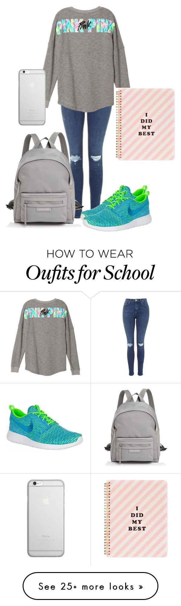 """School"" by monyquemosqueda on Polyvore featuring Topshop, Longchamp, NIKE, Native Union and ban.do"