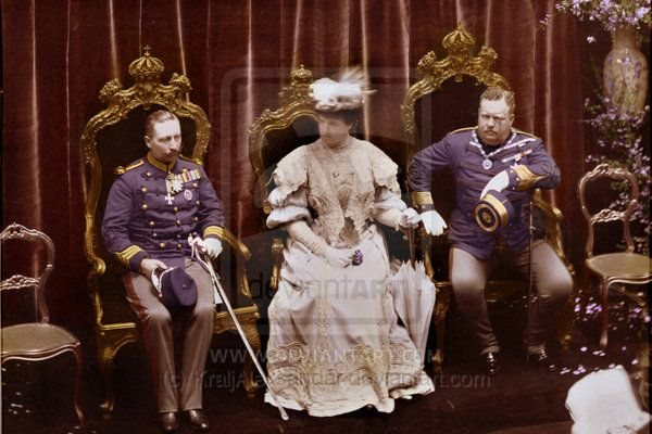 Kaiser Wilhelm II with Queen Maria Amélia and King Carlos I of Portugal. 27 March 1905.