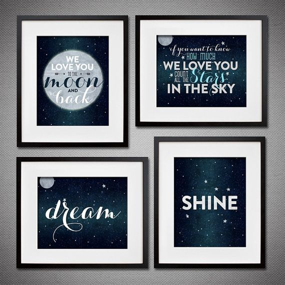 Set of 4 Dream, Shine, Moon and Stars Prints or Canvases for Children's Nursery - Starry Night themed Nursery Wall Art