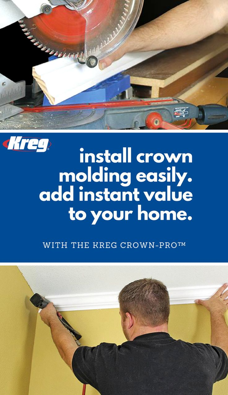 "Install crown molding easily and add instant value to your home! The Kreg Crown-Pro Jig is easy to use for inside and outside corners. Holds your trim at the exact angle required, eliminating the need for difficult compound-angle cuts! Base can be locked in any spring angle from 30-60°. Works with crown up to 5 1/2"" (140mm) wide. Simple instructions show you how to get the right cut every time!"