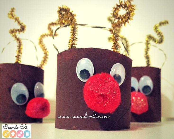 Manualidades para una navidad con ni os renos de tubos de for Manualidades de navidad para ninos
