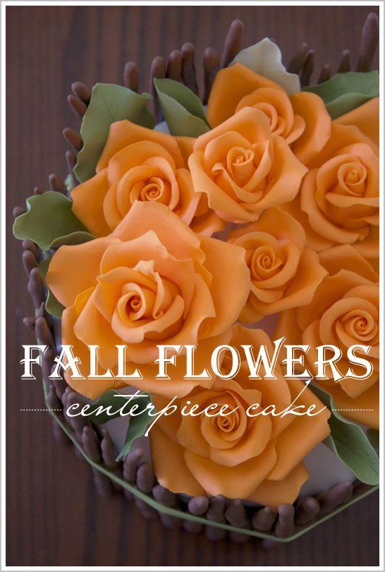 Fall Flower Centerpiece Cake  |  TheCakeBlog.com