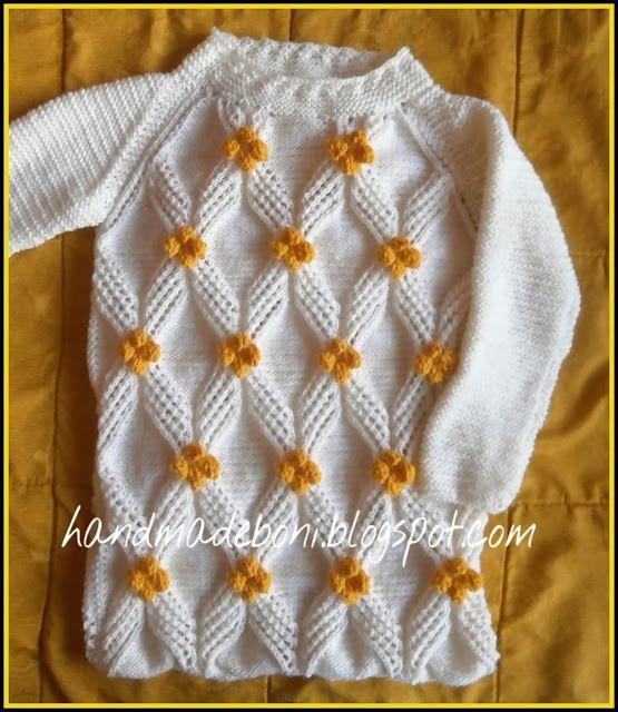 HandmadeBoni: Biały długi sweter  z kwiatami. Zrób razem ze mną....
