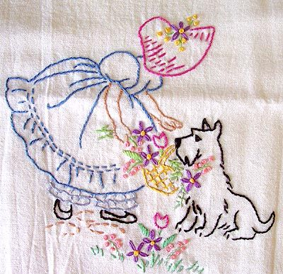 Design inspiration and sources for flour sack tea towels to embroider on.