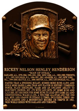 """Rickey Henderson, the """"Man of Steal"""", blazed a trail across baseball with his baserunning and hitting ability. In 1982, Henderson set the modern major league record for stolen bases in a single season with 130. He went on to lead the American League in steals 12 times throughout his career and holds the all-time record with 1,406. He also tops the all-time lists in runs scored (2,295) and unintentional walks (2.129). Henderson - who played for nine teams – won the 1990 American League Most…"""