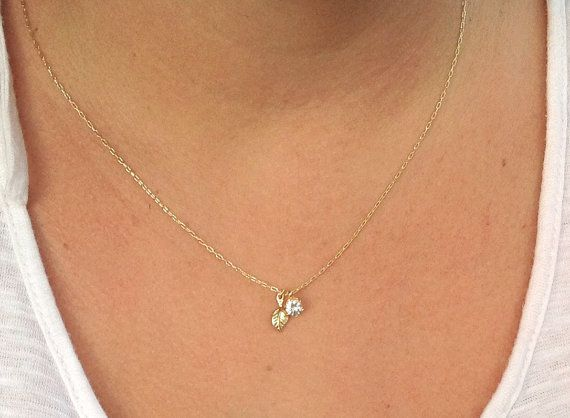 Gold necklace, dainty necklace, unique necklace, cubic zirconia necklace, delicate necklace 4403 on Etsy, $32.00
